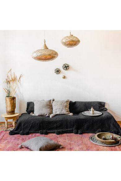 Pompom ágytakaró fekete