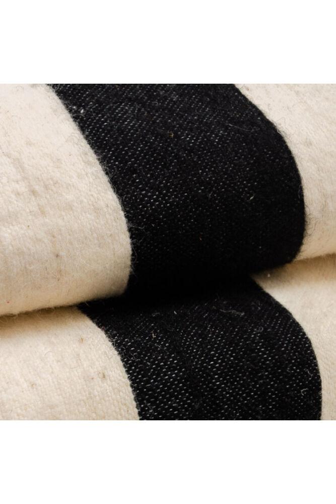 Pompom gyapjú ágytakaró csíkos