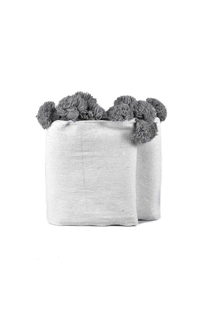 Pompom ágytakaró fehér/bézs