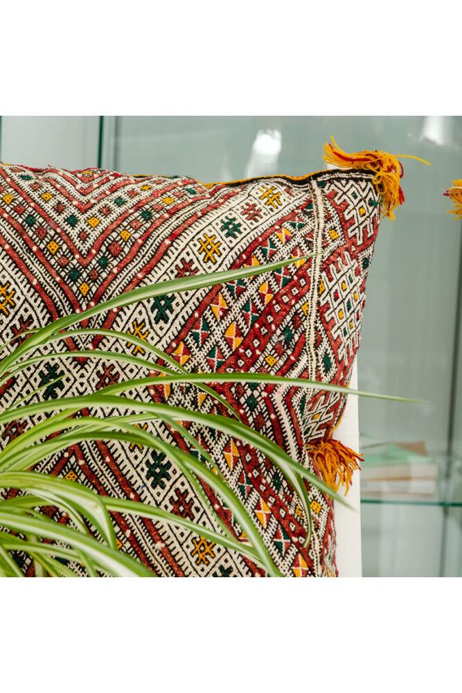 Berber Kilim párna bojtos